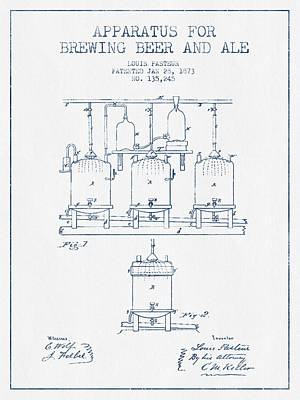 Drawing - Brewing Beer And Ale Apparatus Patent Drawing From 1873  -  Blue by Aged Pixel