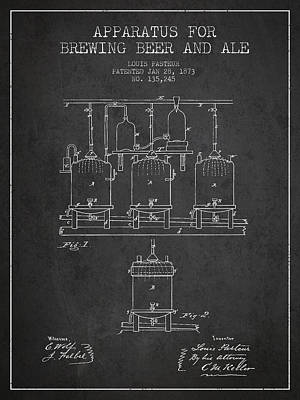 Beer Digital Art - Brewing Beer and Ale Apparatus Patent Drawing from 1873 - Dark by Aged Pixel