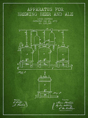 Keg Digital Art - Brewing Beer And Ale Apparatus Patent Drawing From 1873 - Green by Aged Pixel