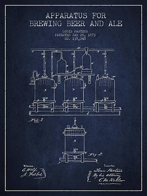 Beer Royalty-Free and Rights-Managed Images - Brewing Beer and Ale Apparatus Patent Drawing from 1873 - Navy B by Aged Pixel