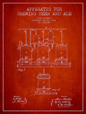 Beer Royalty-Free and Rights-Managed Images - Brewing Beer and Ale Apparatus Patent Drawing from 1873 - Red by Aged Pixel