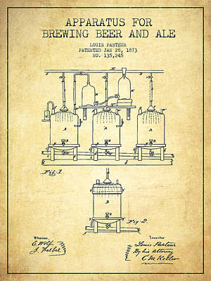 Technical Drawing Digital Art - Brewing Beer And Ale Apparatus Patent Drawing From 1873 - Vintag by Aged Pixel