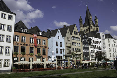 Brewpubs And Restaurants Along The Rhine In Cologne Art Print