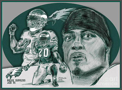 Drawing - Brian Dawkins Bdawk by Chris  DelVecchio