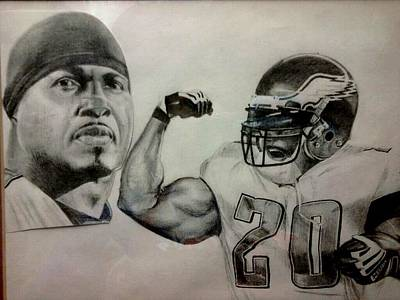 Football Safety Drawing - Brian Dawkins by Ezra Strayer
