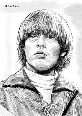 Abstract Pop Drawing - Brian Jones Art Drawing Sketch Portrait by Kim Wang