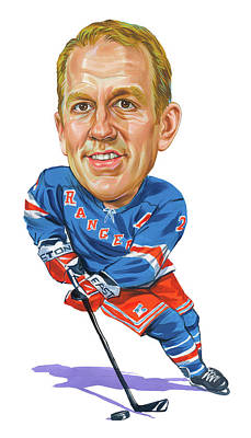 Sports Paintings - Brian Leetch by Art
