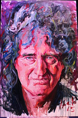Famous People Painting - Brian May by Tachi Pintor