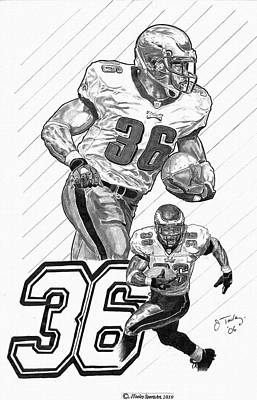 Brian Westbrook Drawings Drawing - Brian Westbrook by Jonathan Tooley