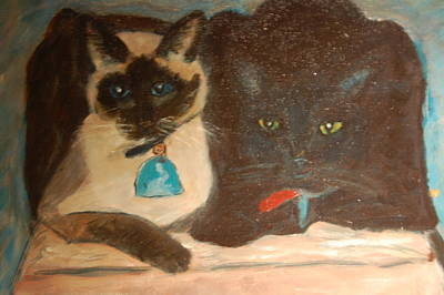 Painting - Brian's Cats by Carolyn Donnell
