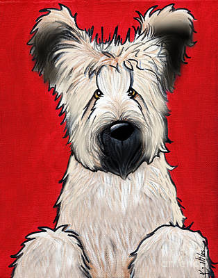 Fawn Mixed Media - Briard Buddy On Red by Kim Niles