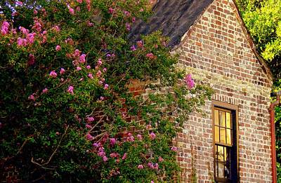 Art Print featuring the photograph Brick And Myrtle by Rodney Lee Williams
