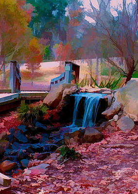 Digital Art - Brick Pond Waterfall by Bill Barber