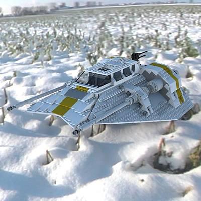 Lego Star Wars Digital Art - Brick Snowspeeder Ce by John Hoagland