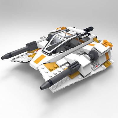 Lego Star Wars Digital Art - Brick Snowspeeder by John Hoagland