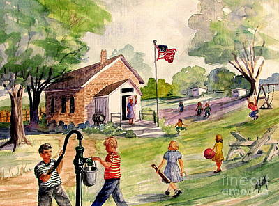 Country Schools Painting - Brick Street Memories by Marilyn Smith
