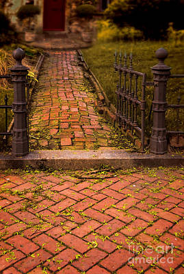 Photograph - Brick Walkway Through Gate To House by Jill Battaglia