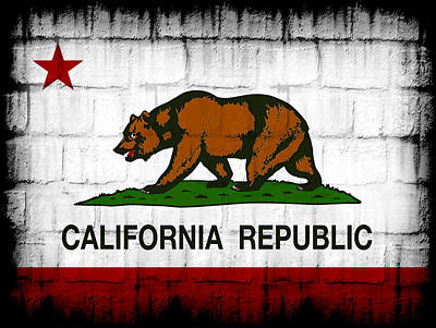 State Of California Digital Art - Brick Wall California by Daniel Hagerman
