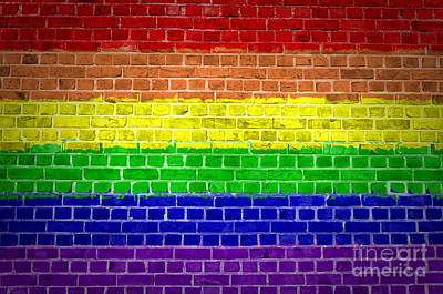 Gay Rights Wall Art - Digital Art - Brick Wall Rainbow by Antony McAulay