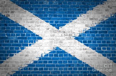 Brick Wall Scotland Saltire Art Print by Antony McAulay