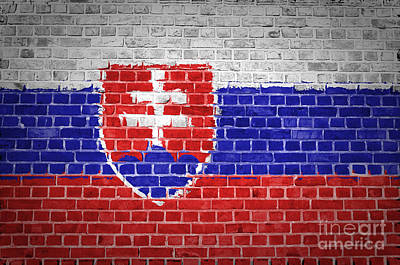 Backdrop Digital Art - Brick Wall Slovakia by Antony McAulay