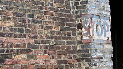 Photograph - Brick Wall Stop Close Up by Anita Burgermeister