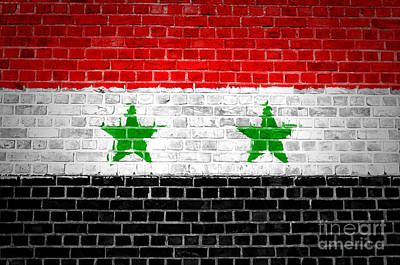 Backdrop Digital Art - Brick Wall Syria by Antony McAulay