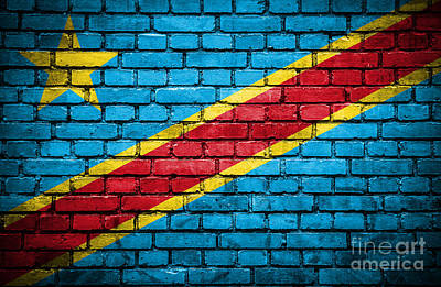 Brick Wall With Painted Flag Of Congo Democratic Republic Art Print