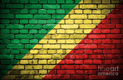 Brick Wall With Painted Flag Of Congo Republic Art Print