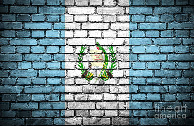 Brick Wall With Painted Flag Of Guatemala Art Print