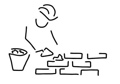 Stone Buildings Drawing - Bricklayer Construction Worker Building by Lineamentum