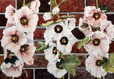 Holly Hocks Painting - Bricks And Blossoms by Tina Buechner