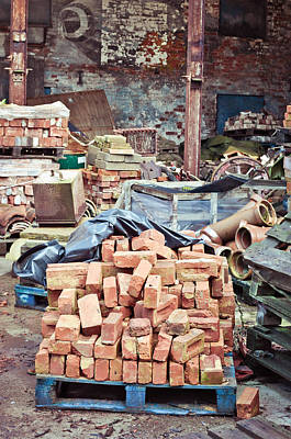 Junk Photograph - Bricks In Scrap Yard by Tom Gowanlock