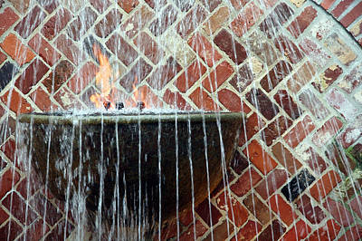 Photograph - Bricks Water Flames by Cora Wandel