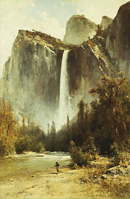 Yosemite Painting - Bridal Falls by Thomas Hill