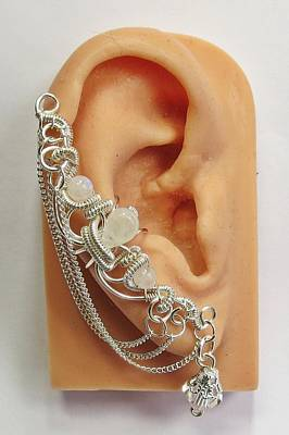 Ear Cuff Jewelry - Bridal Moonstone And Swarovski Crystal Ear Cuff In Silver by Heather Jordan