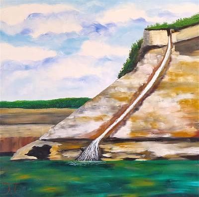 Bridal Veil Falls Painting - Bridal Veil Falls Lake Superior by Troy Thomas