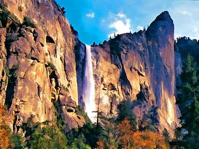Yosemite Painting - Bridal Veil Falls Yosemite National Park by Elaine Plesser