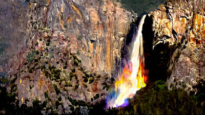 Painting - Bridalvail Falls Yosemite National Park by Bob and Nadine Johnston
