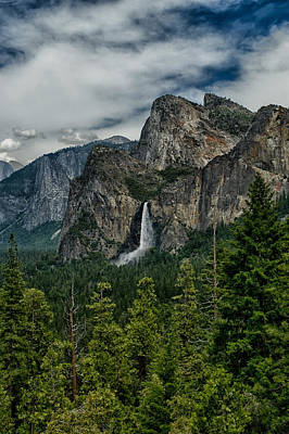 Bridalveil And Cathedral Rocks Art Print by Cat Connor