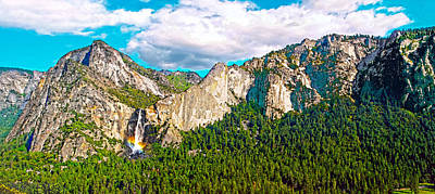 Digital Art - Bridalveil Fall And South Rim Yosemite National Park by Steven Barrows
