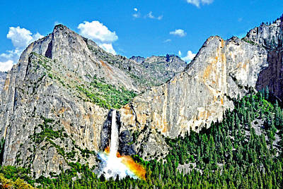 Digital Art - Bridalveil Fall Rainbow Under A Waning Moon by Steven Barrows