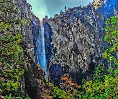 Cathedral Rock Digital Art - Bridalveil Falls In Yosemite Valley by Bob and Nadine Johnston