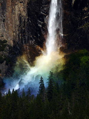 Photograph - Bridalveil Falls Yosemite With Rainbow by Jeff Lowe