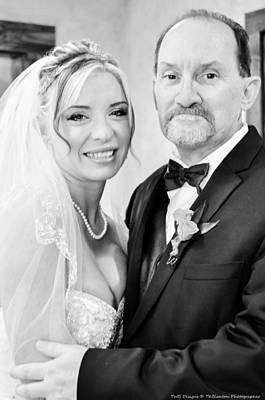 Photograph - Bride And Father Bw by Teresa Blanton
