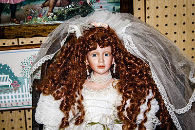 Mixed Media - Bride Antique Doll by Connie Dye