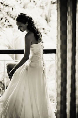 Bride At The Balcony II. Black And White Art Print