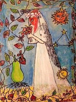 Pear Tree Mixed Media - Bride Bird Red Head by Sachiko Furuya