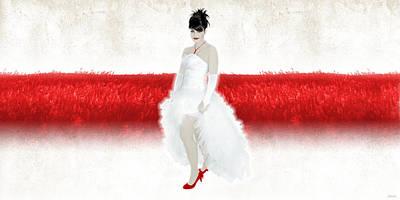 Ball Gown Digital Art - Lady In Red by Ervin Hajdu