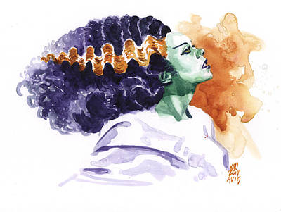 Bride Of Frankenstein Painting - Bride by Ken Meyer jr